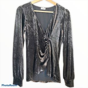 Arianne crushed velvet faux-wrap blouse gray